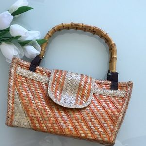 Straw & Bamboo Handbag Burnt Orange/Cream/Tan